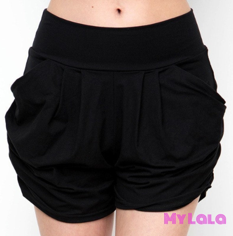 1 Solid Black Harem Shorts