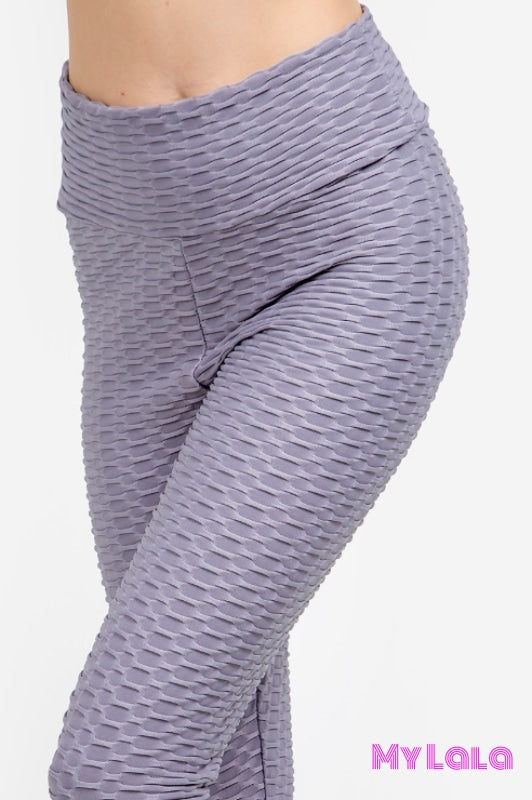 Curvy Original Honeycomb (Charcoal) - My Lala Leggings, soft leggings, buttery soft leggings, one size leggings
