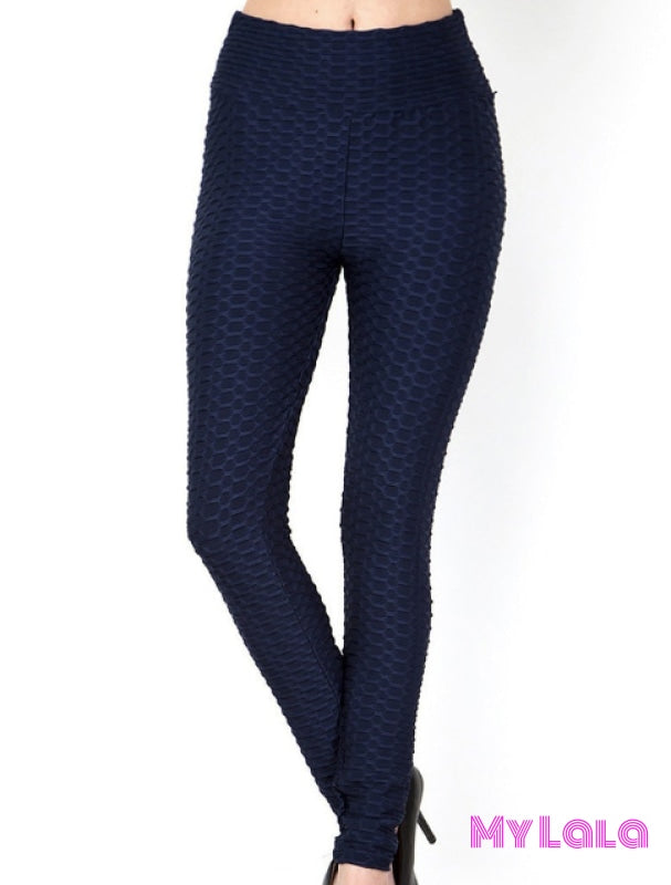 Curvy Original Honeycomb (Navy) - My Lala Leggings, soft leggings, buttery soft leggings, one size leggings