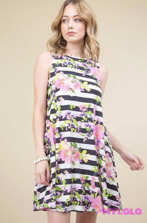 1 T1025Flst Dress - Fussa Floral Stripe Sleeveless Swing
