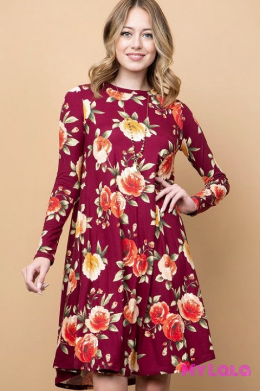 Sweetwater Floral Swing Dress in Wine Red