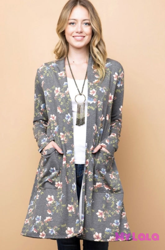 1 T1123Fth Curvy Floral Cardigan (Charcoal)