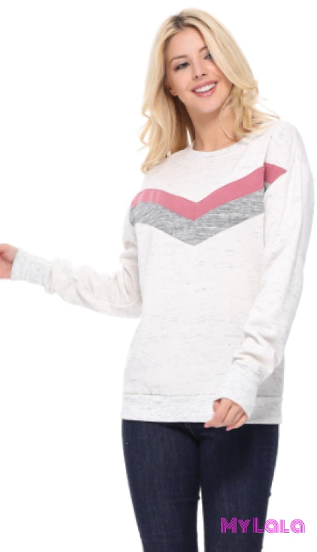 1 T647 Chevron Pullover (Blush)