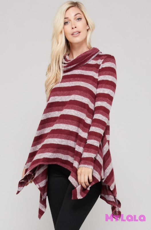 1 T9046 Calie Cowl Neck Trapeze (Wine)