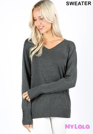 1 Tw1857 Curvy Button Sleeve Sweater (Charcoal)