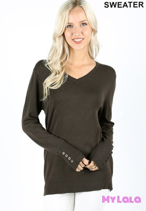 1 Tw1857 Curvy Button Sleeve Sweater (Dk Olive)