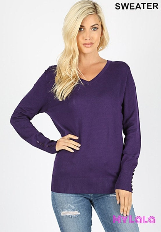 1 Tw1857 Curvy Button Sleeve Sweater (Dk Purple)