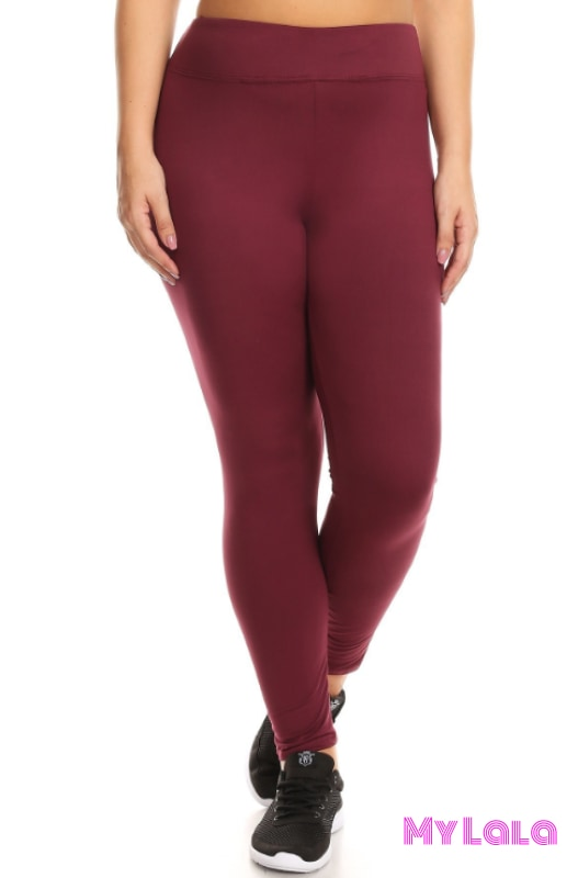 Curvy Solid Wine Active Wear - My Lala Leggings, soft leggings, buttery soft leggings, one size leggings