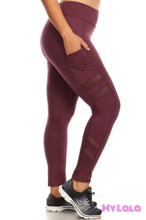 1 X8L67 Curvy Burgundy Sheer Peek Active Wear