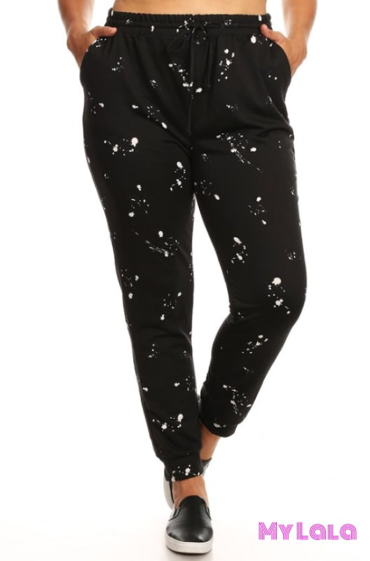 Curvy Red Splat Terry Jogger - My Lala Leggings, soft leggings, buttery soft leggings, one size leggings