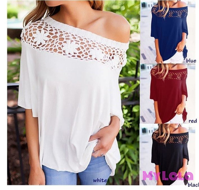 1 Ym191107 Lace Stitch Top (White)