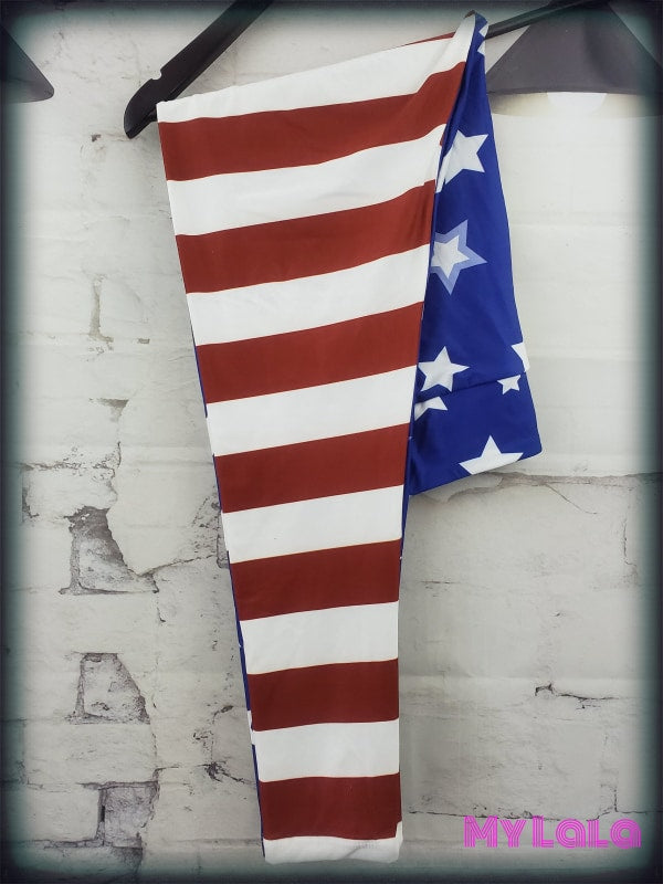 Yoga Band - Curvy American Flag (Premium) - My Lala Leggings, soft leggings, buttery soft leggings, one size leggings