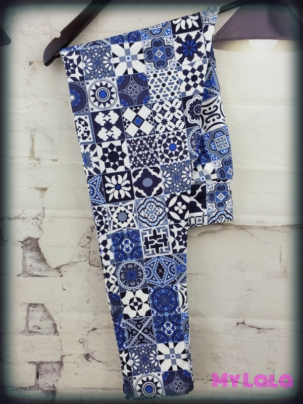 Yoga Band - Curvy Blue Mosaic (Premium) - My Lala Leggings, soft leggings, buttery soft leggings, one size leggings