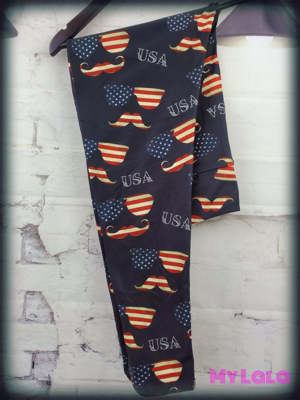 Yoga Band - Mustache USA OS (Premium) - My Lala Leggings, soft leggings, buttery soft leggings, one size leggings
