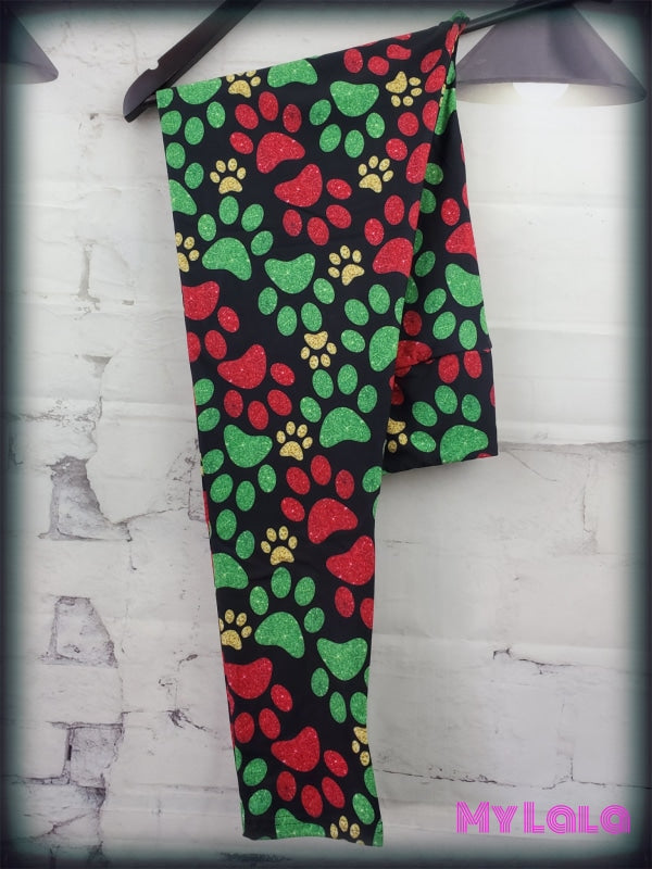 Yoga Band - Red & Green Glitter Paw OS (Premium) - My Lala Leggings, soft leggings, buttery soft leggings, one size leggings