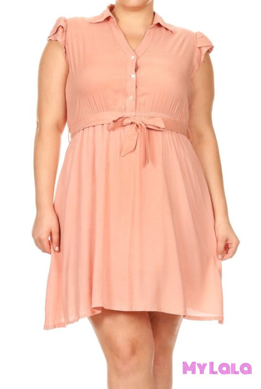 1 Zd2241 - 3C28 Dress Button Down (Peach)