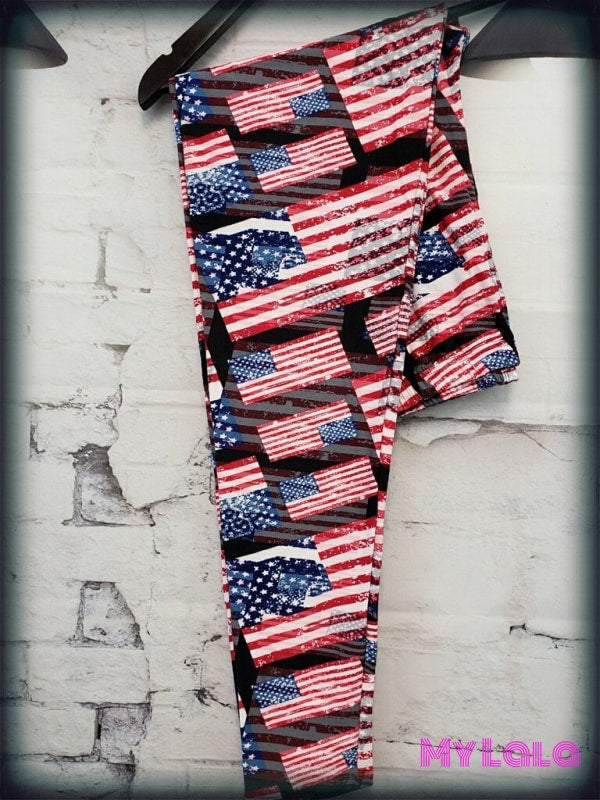 Curvy Flags a Flyin' - My Lala Leggings, soft leggings, buttery soft leggings, one size leggings
