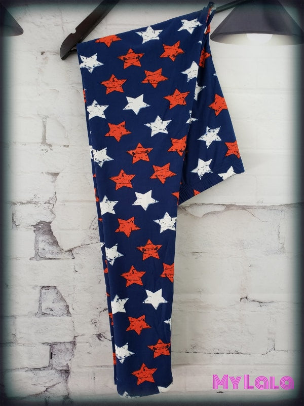Curvy Red White & Blue - My Lala Leggings, soft leggings, buttery soft leggings, one size leggings