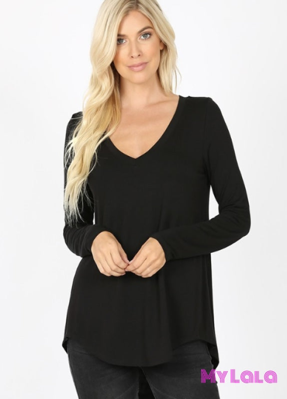 At 5543 Curvy Lori Long Sleeve Hi-Low (Black)