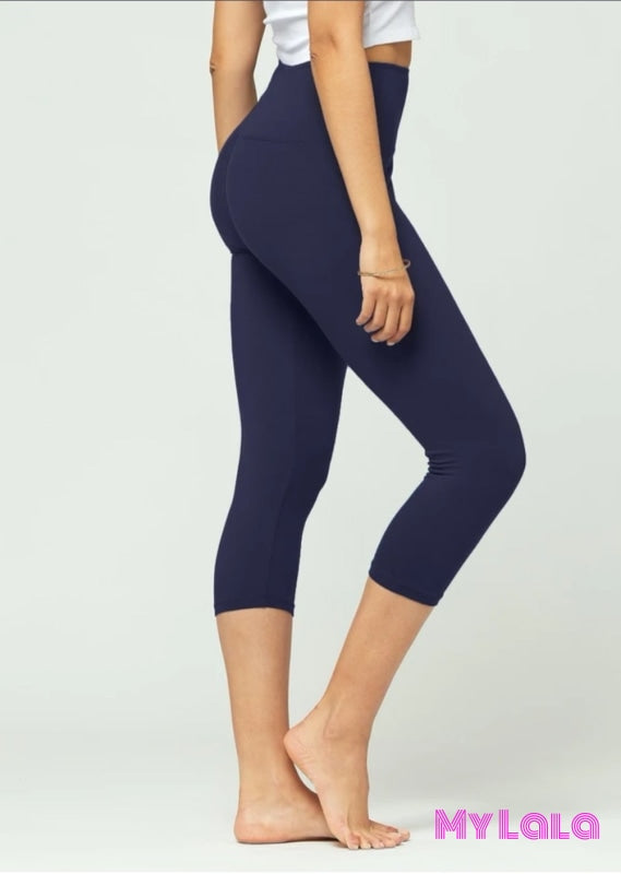 9 Capri - Curvy Solid Navy High Waist (Yoga Band 5 in) - My Lala Leggings