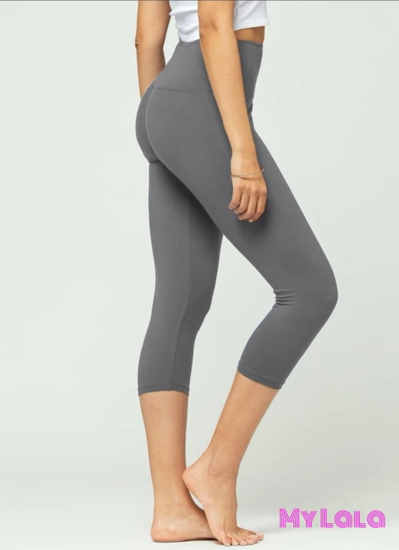 Capri - Solid Charcoal High Waist OS (Yoga Band 5 in) - My Lala Leggings, soft leggings, buttery soft leggings, one size leggings