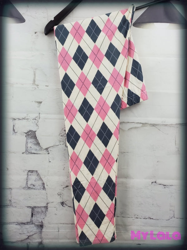 Creamy Pink and Gray Argyle Leggings