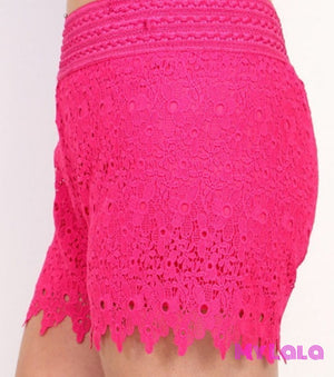 Curvy Black Crochet Shorts
