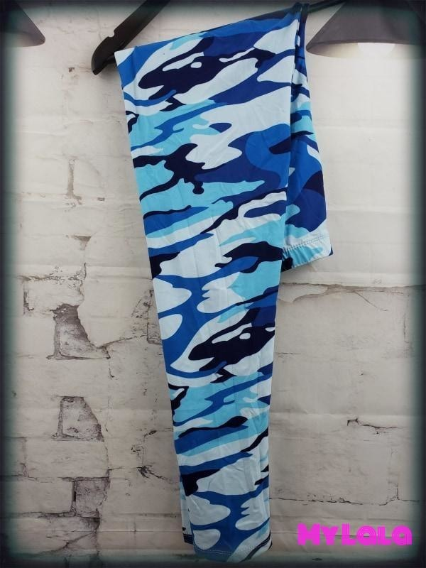 Curvy Blue Camo - My Lala Leggings, soft leggings, buttery soft leggings, one size leggings