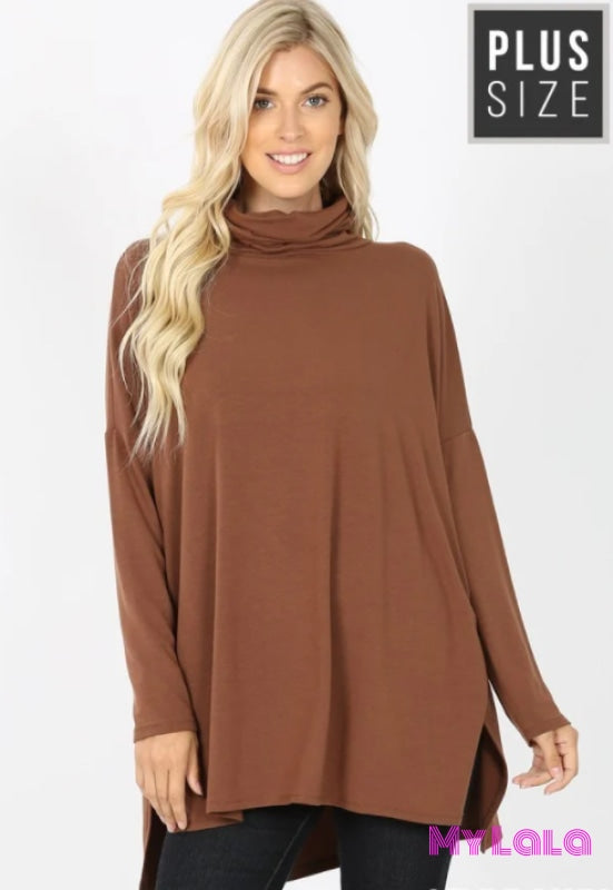 Curvy Cora Cowl Neck Dolman (Lt Brown) - My Lala Leggings