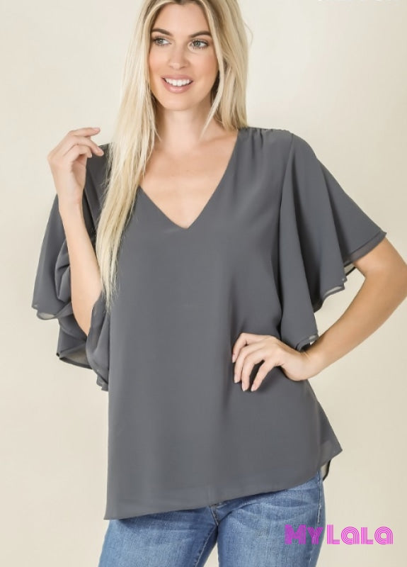 Curvy Debbie Double Layer Chiffon (Ash Grey)
