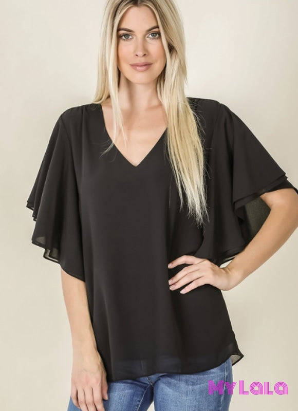 Curvy Debbie Double Layer Chiffon (Black)