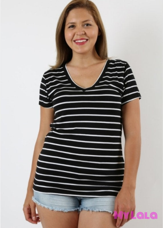 Curvy Gaby Top (Black/white Stripe)