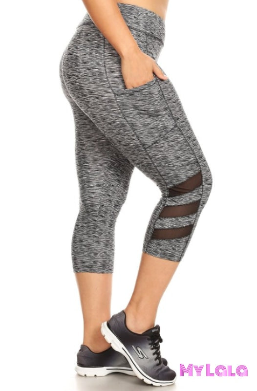 Curvy Heather Black Capri Activewear
