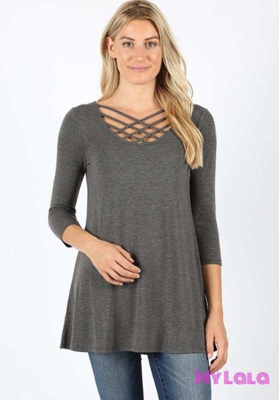 Curvy Houston Lattice 3/4 Sleeve (Charcoal)