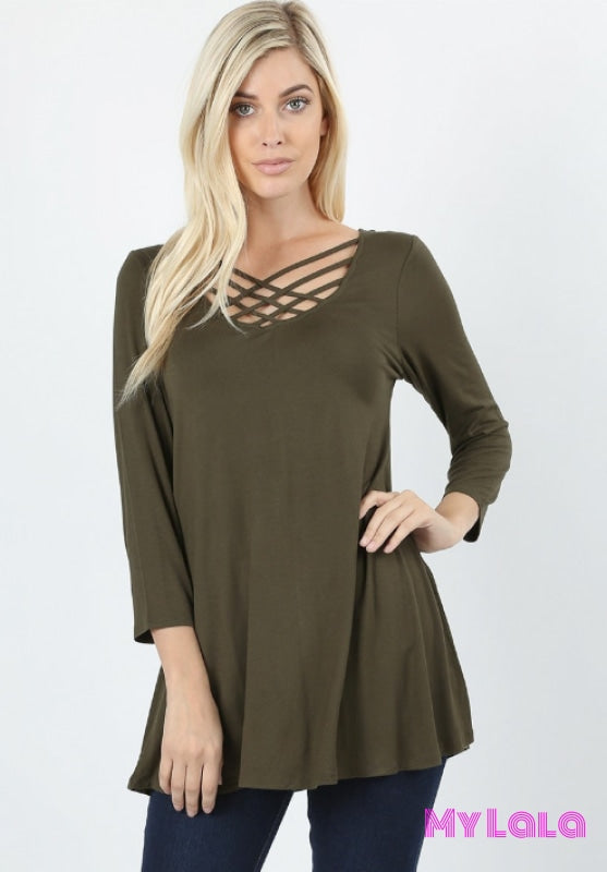 Curvy Houston Lattice 3/4 Sleeve (Dk Olive)