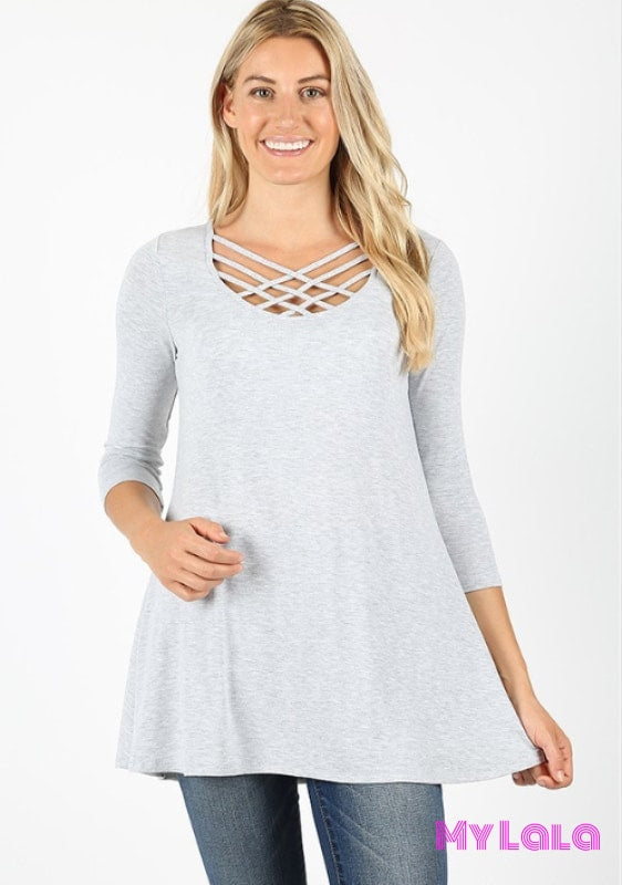 Curvy Houston Lattice 3/4 Sleeve (Heather Grey)