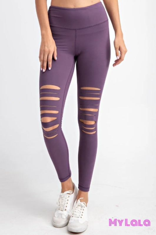 Curvy Laser Cut Knee Activewear (Vintage Violet) - My Lala Leggings, soft leggings, buttery soft leggings, one size leggings