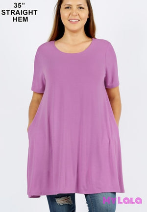 Curvy Lauren Longline Pocketed Tunic (Dk Mauve) - My Lala Leggings