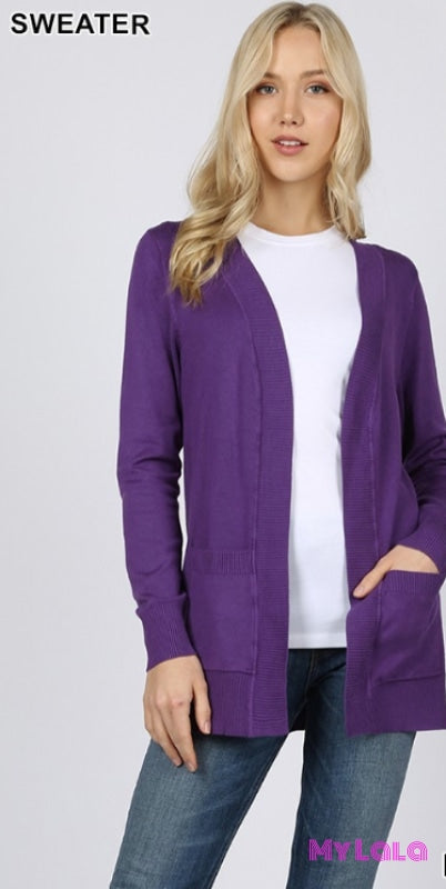 Curvy Open Sweater (Purple)