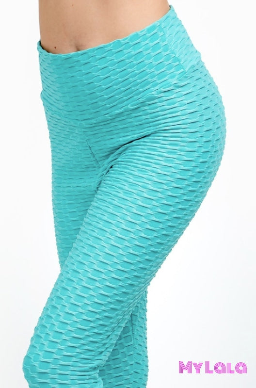 Curvy Original Honeycomb (Mint) - My Lala Leggings, soft leggings, buttery soft leggings, one size leggings