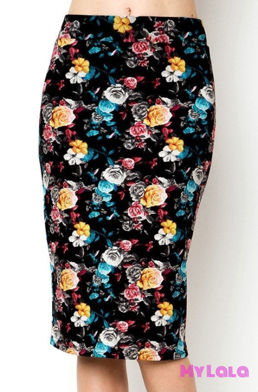 Curvy Pencil Skirt Blue Flower