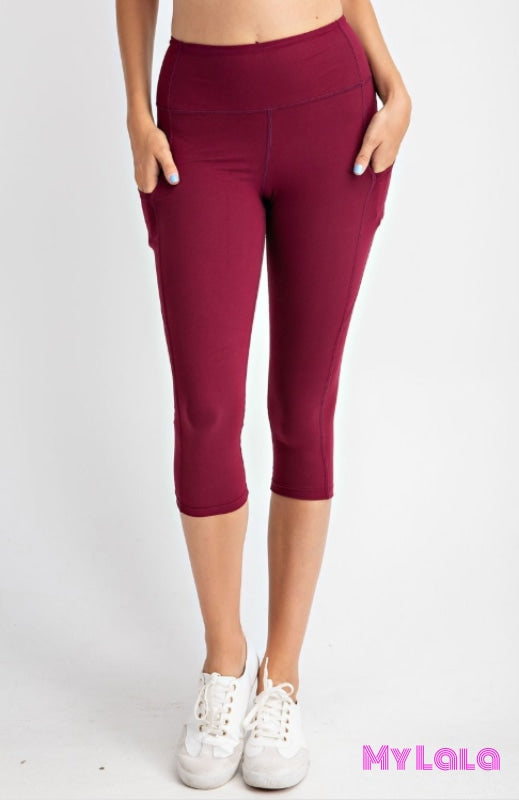 Curvy Pocketed Yoga Softy Capri Activewear (Burgundy) - My Lala Leggings, soft leggings, buttery soft leggings, one size leggings