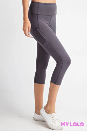 Curvy Pocketed Yoga Softy Capri Activewear (Charcoal) - My Lala Leggings, soft leggings, buttery soft leggings, one size leggings