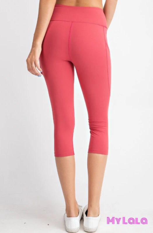 Curvy Pocketed Yoga Softy Capri Activewear (Coral) - My Lala Leggings