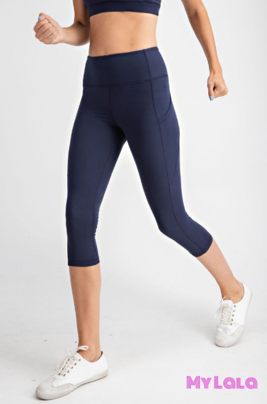 Curvy Pocketed Yoga Softy Capri Activewear (Navy)