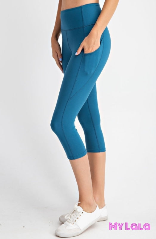Curvy Pocketed Yoga Softy Capri Activewear (Teal) - My Lala Leggings, soft leggings, buttery soft leggings, one size leggings