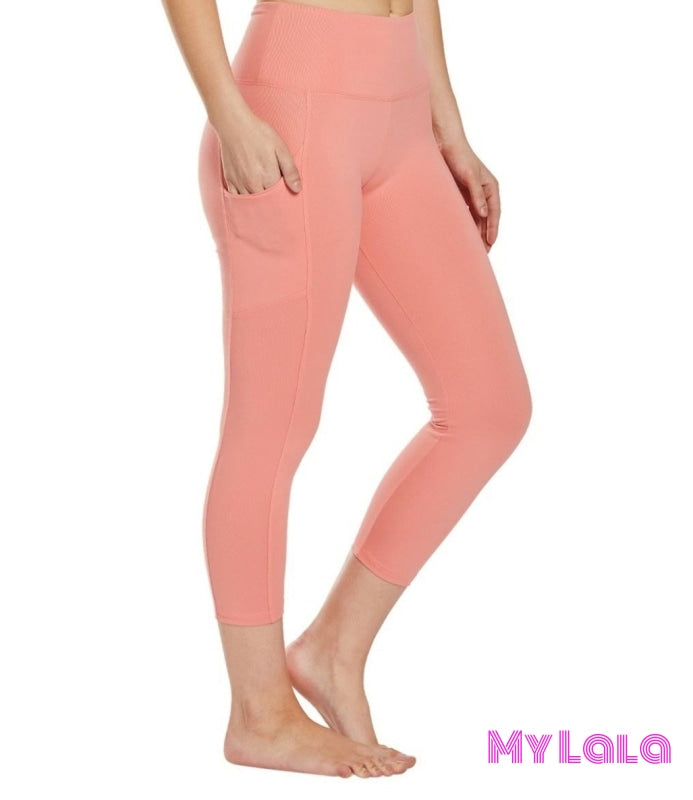 Curvy Pocketed Yoga Softy Capri (Melon) - My Lala Leggings