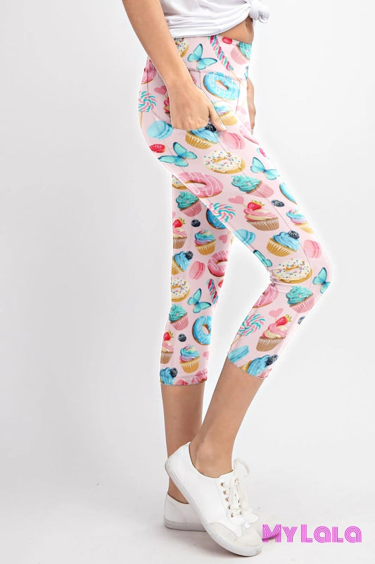 Curvy Pocketed Yoga Softy Capri (Pink Sweets) - My Lala Leggings