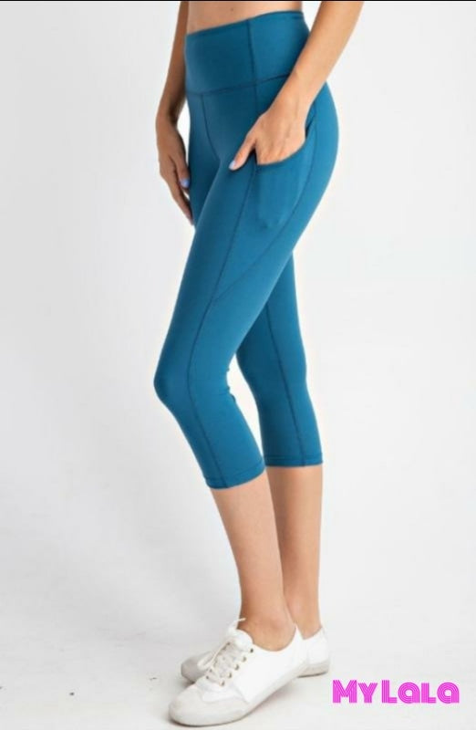Curvy Pocketed Yoga Softy Capri (Teal) - My Lala Leggings