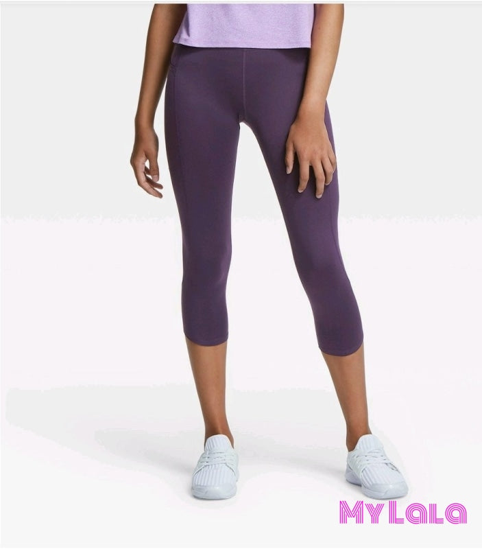 Curvy Pocketed Yoga Softy Capri (Violet) - My Lala Leggings